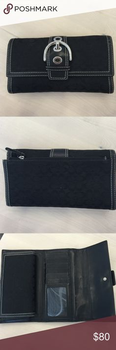 Coach Hampton Buckle wallet Coach Hampton Buckle wallet . It is in like brand new condition with absolutely no tears in the leather, with check holder & very well kept ! Coach Bags Wallets