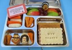Pilgrims, Give Thanks bento school lunches, Thanksgiving