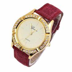 Hot Sale Luxury Diamond Gold Stainless Maroon Leather Women Quartz Watch Fashion | eBay