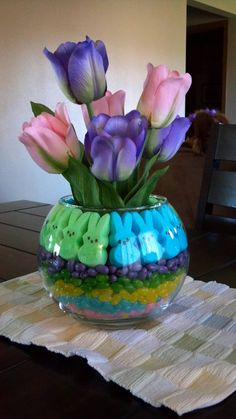 So Cute ~ Easter Centerpiece: Colored Jelly Beans, Peeps, and Beautiful Spring Tulips ~ Very Pretty!!