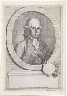 Aert Schouman | Portret van Jan van Os, Aert Schouman, 1765 - 1792 | Portret van de schilder Jan van Os, een leerling van Schouman. Op het voetstuk, waarop de ovale omlijsting met het portret staat, liggen een lier en een blad papier.