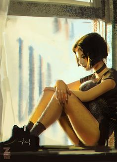 Girl by the Window by Zeronis Leon: the Professional Mathilda female steampunk goth armor clothes clothing fashion player character npc | Create your own roleplaying game material w/ RPG Bard: www.rpgbard.com | Writing inspiration for Dungeons and Dragons DND D&D Pathfinder PFRPG Warhammer 40k Star Wars Shadowrun Call of Cthulhu Lord of the Rings LoTR + d20 fantasy science fiction scifi horror design | Not Trusty Sword art: click artwork for source