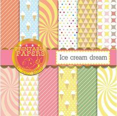 Ice cream digital paper 'Ice cream dream' geometric patterns 12 vintage ice cream backgrounds delicious!