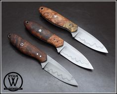 Ryan Weeks Trio of High Uintas Cool Knives, Knives And Swords, Knife Shapes, Knife Patterns, Bushcraft Knives, Survival Equipment, Handmade Knives, Fixed Blade Knife, Camping Survival