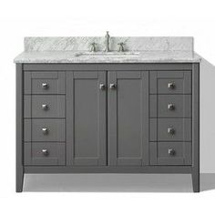 Ancerre Designs Shelton Sapphire Gray Undermount Single Sink Birch Bathroom Vanity with Natural Marble Top (Common: 48-in x 22-in; Actual: 48-in x 22-in)