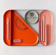 Shaped Tray Desk Organizer in Orange Home Office Decor, Office Desk, Office Furniture, Charles Ray Eames, Desk Tray, Workspace Inspiration, Workspace Design, Office Accessories, Office Organization