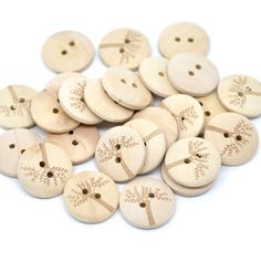 Natural Tree Printed Wooden Buttons