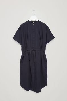 COS image 2 of Drawstring shirt dress in Navy