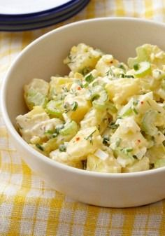Best Creamy Potato Salad — Hard-cooked eggs, Yukon gold potatoes and celery make for a scene-stealing potluck salad recipe sure to be a hit among dinner guests.
