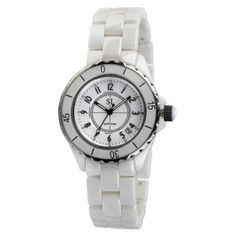 K010G White Ceramic & Glass Cercle Watch