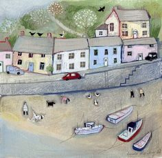 Harbour Views mixed media painting by Louise Rawlings
