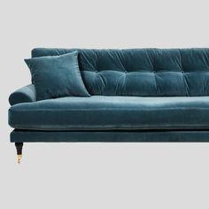 Petrol velvet sofa, Scandinavian design – ATT PYNTA Teal Velvet Sofa, Velvet Furniture, Seat Pads, Sleeper Sofa, My Living Room, Scandinavian Design, Seat Cushions, Upholstery, Interior Design