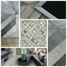 Gray Parquet Pattern Cowhide Patchwork Rug at https://poshrug.com/products/grey-cowhide-patchwork-area-rug