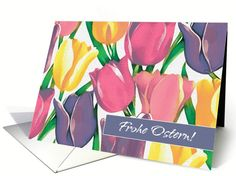 Frohe Ostern. Spring Tulip Painting Customizable Easter Greeting Cards in German. at greetingcarduniverse.com