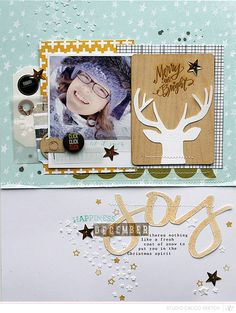 #papercraft #scrapbook #layout Like the use of the star stencil with embossing paste