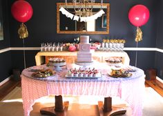 Pink and Gold Baby Shower -- stripes, confetti, jumbo balloons, and a little tinsel!  somersetcakes.com