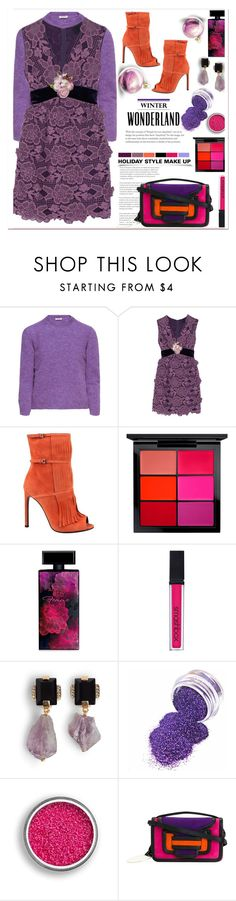 """🎀 #582  Holiday Party Make Up"" by wonderful-paradisaical ❤ liked on Polyvore featuring Miu Miu, Anna Sui, Gucci, MAC Cosmetics, Elizabeth Arden, Smashbox, Marni, Pierre Hardy, trending and polyvorecontest"