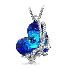 ea823308a Amazon.com: QIANSE Heart of Ocean Necklace Valentines Necklaces for Women Jewelry  Gifts for Women Girlfriend Wife Sapphire Swarovski Crystal Birthstone ...