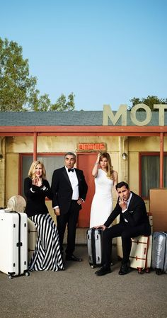 Created by Dan Levy, Eugene Levy.  With Eugene Levy, Catherine O'Hara, Dan Levy, Annie Murphy. When rich video store magnate Johnny Rose, his soap star wife Moira and their two kids, son David and socialite daughter Alexis suddenly find themselves broke, they are forced to leave their pampered lives to regroup in Schitt's Creek.