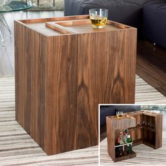 With a nod back to classic styles, this side table - with hidden bar area - puts a contemporary twist on the design. Simply open the table to reveal a space for Bottles and glasses. Ideal for a quick drink when enteraining or just when youre watching TV.