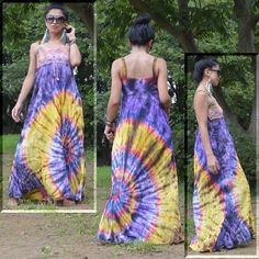 Tie-dye maxi dress -cotton100%-