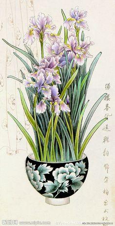 Vintage Botanical Prints, Botanical Drawings, Botanical Art, Botanical Illustration, Japanese Painting, Chinese Painting, Chinese Art, Flower Art Drawing, Art Nouveau Flowers
