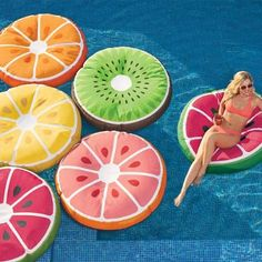 Turn your pool into a virtual punch bowl with our exclusive Fancy Fruit Float. Filled with polystyrene beads, for a cushiony, beanbag-like settle-in    feeling that conforms to you, this bright slice of fun is the much-more-fun way to chill out in style on the water. The colorful cover is made of a    combination of polyester knit and tough stain-resistant, water-resistant polyester SunMax fabric. Use this fabulous    float in the pool, or even place a few out as colorful poolside seating...