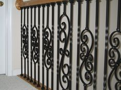 Finished section of iron balusters