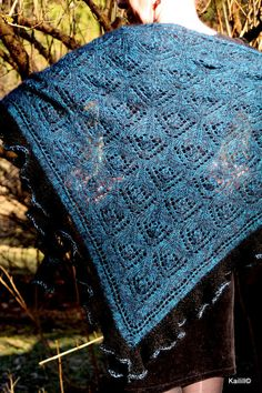 Black and blue hand knitted triangular mohair-silk by Kailill
