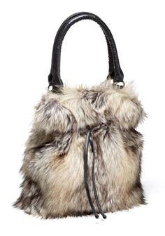 ac850ad57c08 Grey Fox Faux Fur Bucket Bag Grey Fox