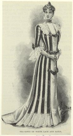 Tea-gown of white lace and satin. (1899)
