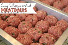 Easy Freezer Meal Meatballs Recipe called for lbs. of hamburger but I used 3 because that is how it was packaged. I made the meatballs slightly smaller than golfball and it made not I checked them at 15 minutes and they were done. Make Ahead Freezer Meals, Freezer Cooking, Hamburger Freezer Meals, Microwave Freezer Meals, Freezer Dinner, Freezer Friendly Meals, Crockpot Meals, Meat Recipes, Cooking Recipes