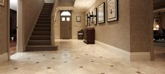 Inspiration living hall with Jerusalem Grey Tumbled and Dove Grey Honed limestone floor tiles