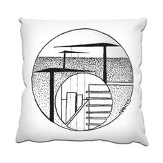 Nantes Buildings Cranes Cushion