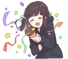 It is a cute sticker of Menhera-chan.Please use a lot. Anime Neko, Cute Anime Chibi, Cute Anime Pics, Kawaii Anime Girl, Anime Art Girl, Manga Anime, Dibujos Anime Chibi, Kawaii Chan, Anime Expressions