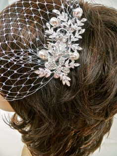 Bandeau Birdcage Veil Wedding Blusher Veil Rhinestone by ctroum, $51.00