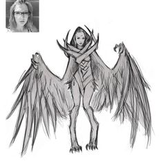 @veil.threa as a harpy your scar makes you special similar to harry potter but you can change into a half bird  Daily #character #sketch #art