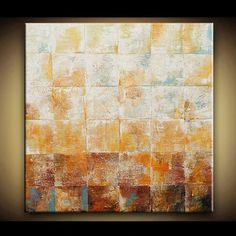 Abstract Painting Abstract Art Contemporary Modern 12x12 Deep Brown Gold Blue Palette Knife Fine Art by Marie