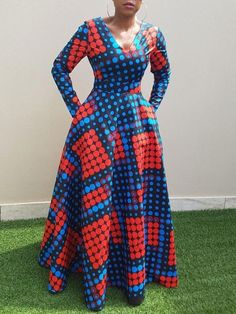 Contrast Color Long Sleeve V-Neck Women's Maxi Dress
