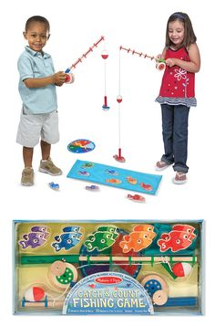 Catch some laughs and learning with this wooden magnetic play set--complete with working wind-up reel! The 10 magnetic fish are numbered and patterned to enrich matching, sorting, and counting activities, and two wooden rods make collecting them a blast! Kids can use the spinner to play as a game, or just have fun collecting the pieces over and over again. Either way, there's plenty of fun in this sea!