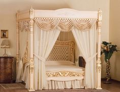 king size canopy with fancy drapes. I like how they hang below the . & Breathtaking Luxury Royal Style Canopy Bed with Gold Frame with ...