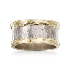 Ross-Simons - Sterling Silver and 14kt Yellow Gold Cigar-Band Ring - #645858