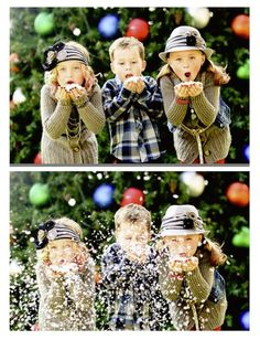 Blowing snow christmas picture idea -- so cute!