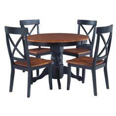 @Overstock.com - Black/ Cottage Oak 5-piece Dining Furniture Set - This stately 5-piece dining set includes a round pedestal dining table and four 38-inch high dining chairs. This elegant set features a solid hardwood construction in a black and cottage oak finish.  http://www.overstock.com/Home-Garden/Black-Cottage-Oak-5-piece-Dining-Furniture-Set/6626773/product.html?CID=214117 $446.23