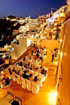 Outdoor Santorini wedding reception