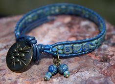 Beautiful Blue Boho Leather Beaded Wrap Bracelet with Czech Glass Picasso Tile Beads & Antiqued Brass Button by CreativeCutes on Etsy, $25.95