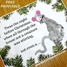 & the Night Before Christmas& footprint mouse craft. A keepsake Christmas Card idea for babies, toddlers and preschoolers. Twas the Night Before Christmas footprint mouse craft. A keepsake Christmas Card idea for babies, toddlers and preschoolers. Christmas Poems, Printable Christmas Cards, Homemade Christmas Cards, Christmas Art, Handmade Christmas, Christmas Stuff, Christmas 2019, Homemade Cards, Toddler Christmas