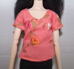 Pullip clothes - peach flowery t-shirt by FabriMagoDolls on Etsy