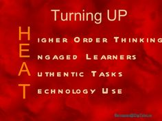 """Explore Bernajean's H.E.A.T. metaphor overview designed to get XTRA high return-on-learning value from technology resources by """"Turning UP the H.E.A.T."""" (Higher Order Thinking - Engaged Learners - Authentic Tasks and added-value Technology Uses) activating high-yielding learning strategies in learning tasks. Presentations and workshops by Bernajean Porter. Contact info@DigiTales.us"""