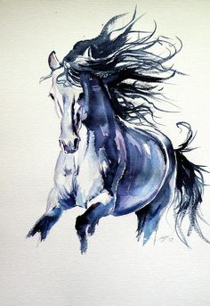 Watercolor Horse, Abstract Horse Painting, Watercolor Paintings, Watercolour, Horse Drawings, Animal Drawings, Horse Illustration, Horse Artwork, Animal Paintings
